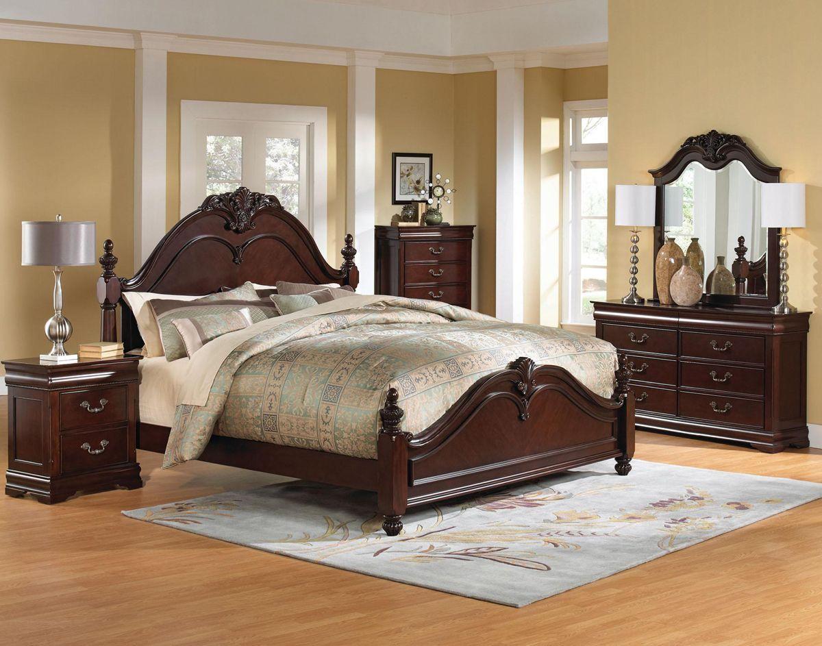 Brown Cherry 5 Piece Queen Bedroom Set Westchester