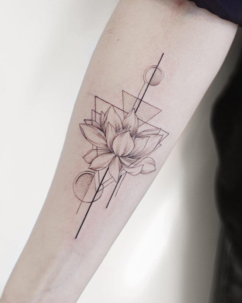 Lotus And Geometric Shapes Inked In Black And Grey Colors On The Right Forearm Nerd Tattoo Tattoos Geometric Tattoo