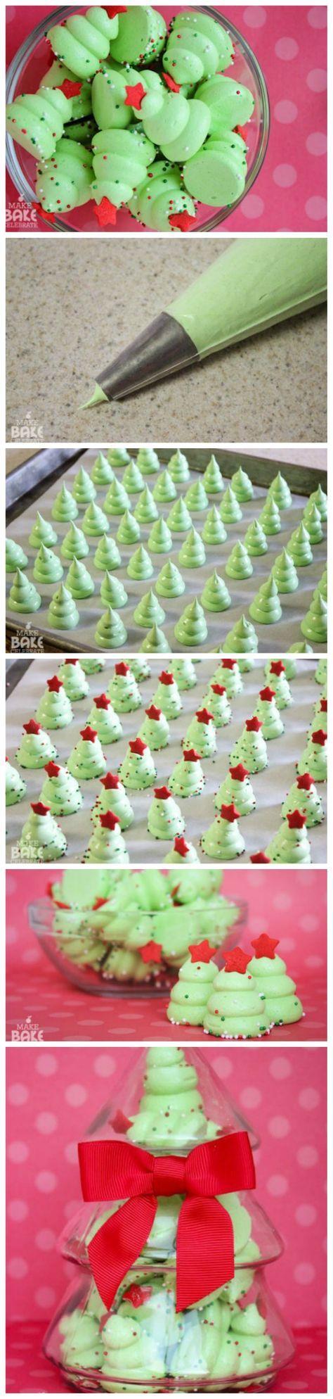 Süßes: Weihnachtsbaum-Baiser #dekorationwohnung