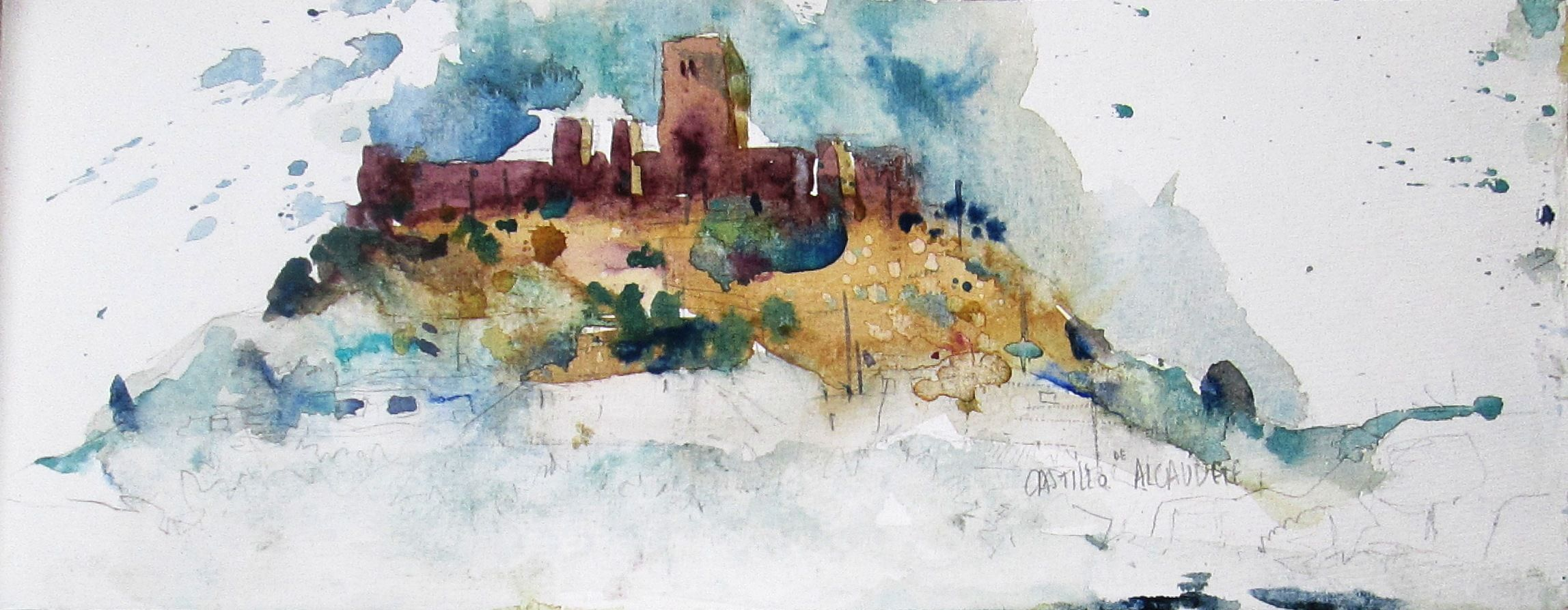 Castillo de Alcaudete Acuarela sobre papel Watercolor -  Aquarelle
