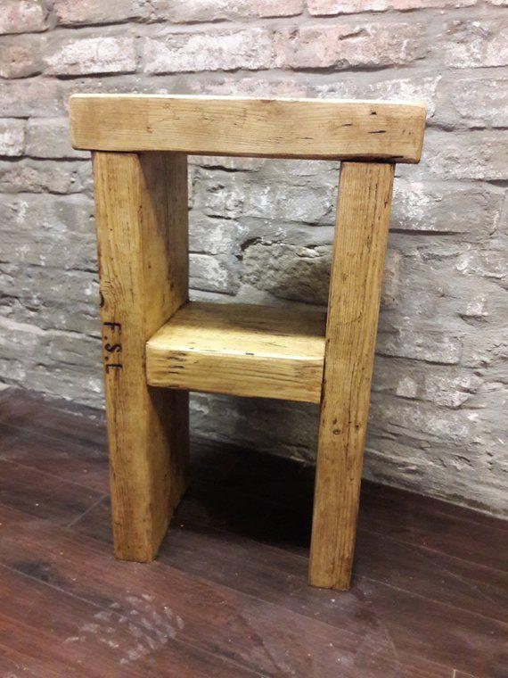 Rustic Wood Bedside Table: Rustic Handmade Bedside Table Side Table Reclaimed Wood