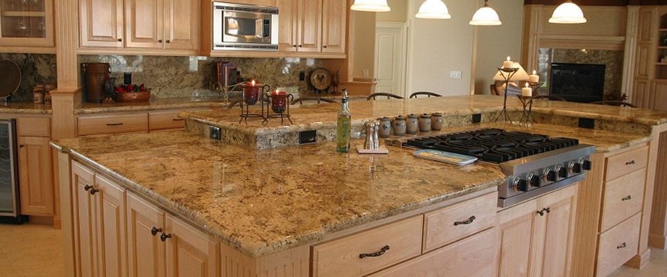 Golden beaches granite for my back wall cherry wood for Granite remnants los angeles ca