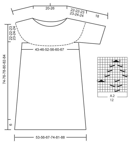 """Vanilla Summer - Strikket DROPS kjole i """"Paris"""" med korte ærmer, rundt bærestykke og hulmønster. Strikket ovenfra og ned. Str S - XXXL. - Free pattern by DROPS Design"""