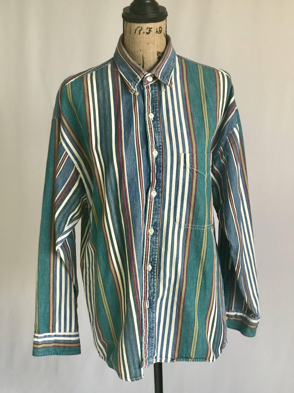 Vintage 90s Vertical Striped Shirt Mens Vintage 90s Street Style Vintage Shirts Vertical Striped Shirt Vintage Men Striped Shirt