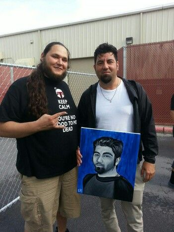 Chino Moreno of Deftones and me with my portrait that he loved so much I gave it to him!