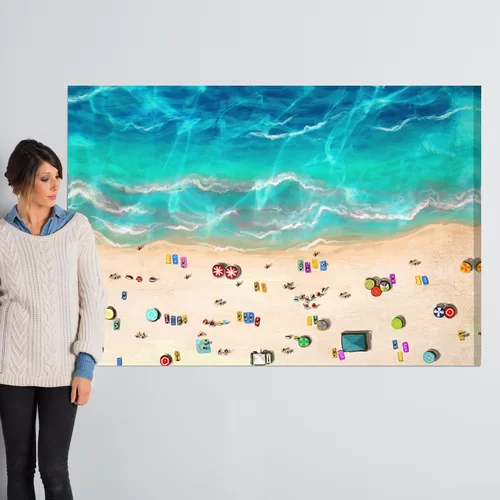 A Day At The Beach Nautical And Coastal Wrapped Canvas Graphic Art Print In 2020 Bee Painting Graphic Art Graphic Art Print