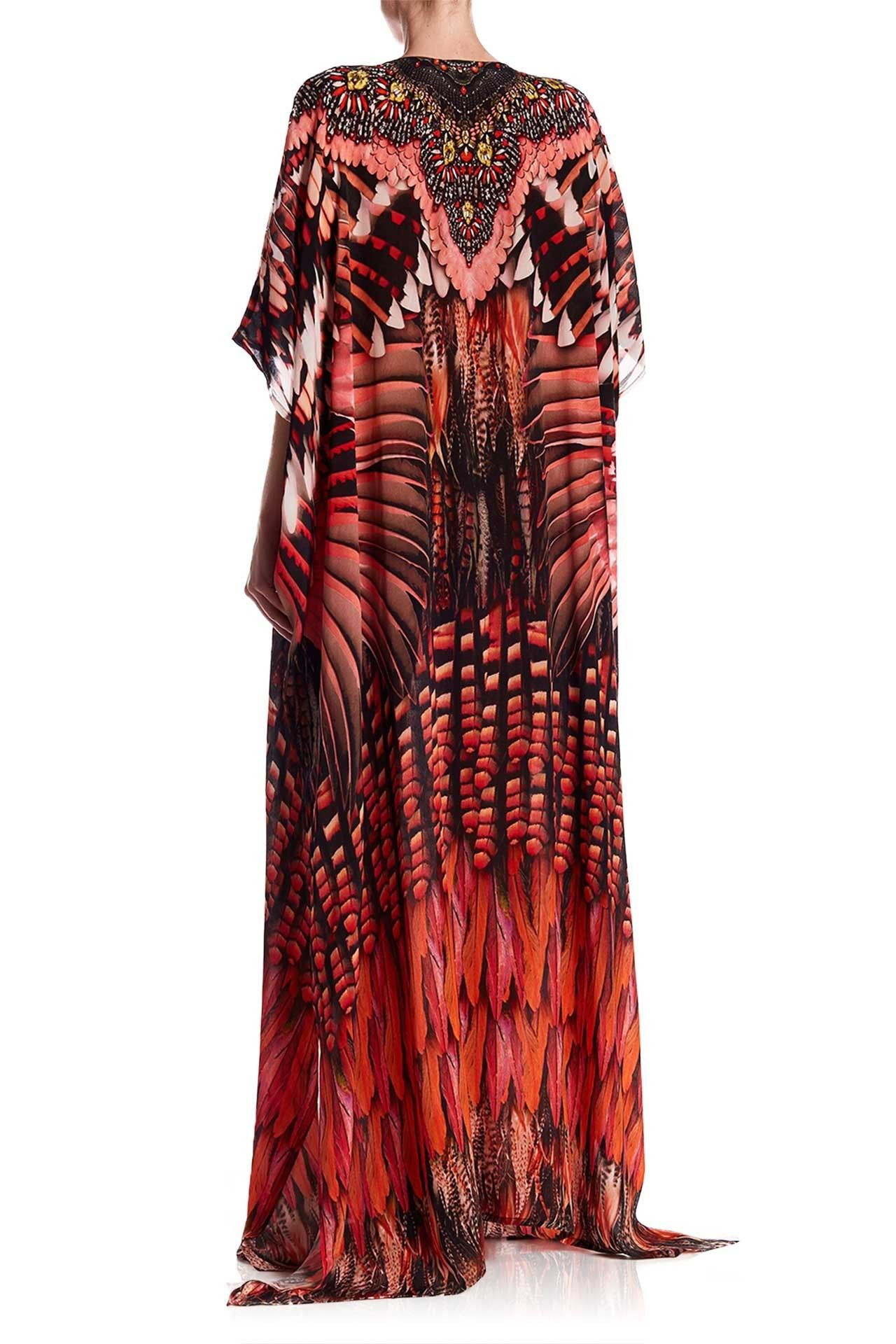 Burgundy feather print maxi kaftan dress pinterest dresses