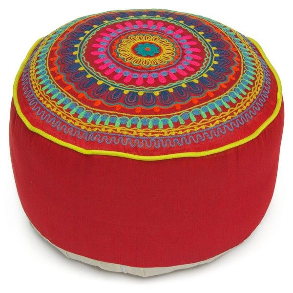 Embroidered Tibetan Pouf - Red (120 AUD) ❤ liked on Polyvore featuring home, furniture, ottomans, embroidered footstool, tibetan furniture, red furniture, red footstool and red ottoman