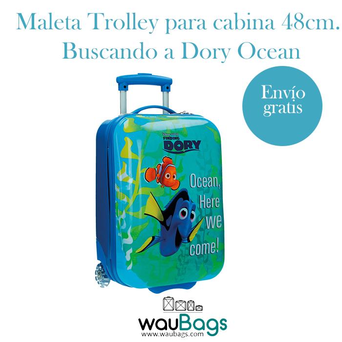 """Con la Maleta Trolley """"Buscando a Dory Ocean"""" de Disney Pixar no tendrás que facturar, ya que sus medidas son las homologadas para poderla llevar en la cabina del avión.Con 2 ruedas muy resistentes y mango extensible. Su interior está forrado a juego con la maleta y cuenta con dos separadores de ropa interiores, además de bolsillos tipo red con cremallera.#disney #buscandoadory #dory #maleta #trolley #infantil #kids #viaje #waubags"""