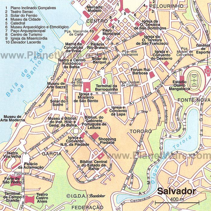 Map of Salvador Brazil | Brazil cities, City maps, Salvador