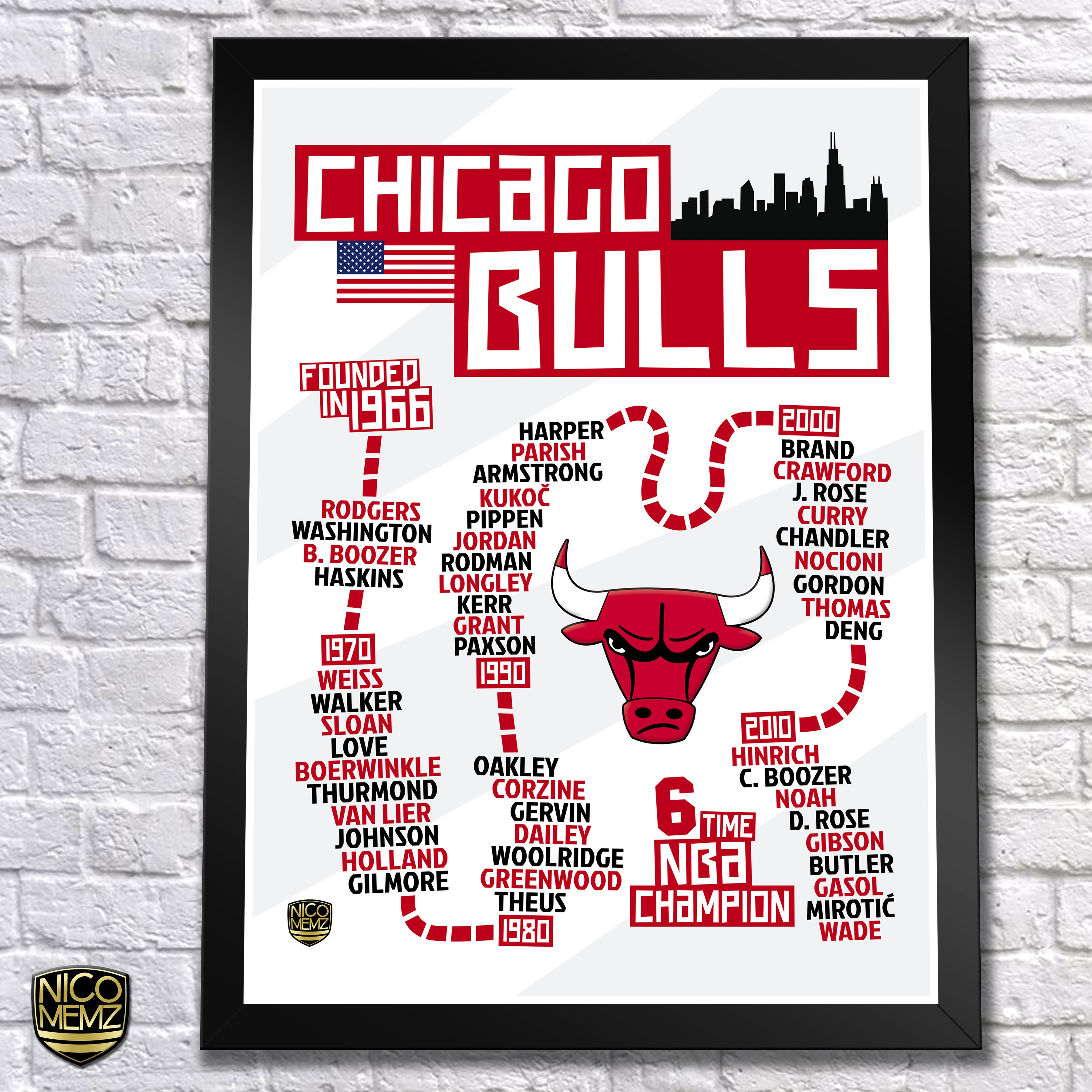 Chicago Bulls History Timeline Poster check it out at