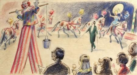 Price £1,450.00 PEN INK AND COLOURED PENCIL 6 1/2 X 12 INCHES PROVENANCE:THE ESTATE OF FRED BANBERY EXHIBITED:'FRED BANBERY AND PADDINGTON BEAR', CHRIS BEETLES LTD, APRIL 2000 PRELIMINARY DRAWING FOR MICHAEL BOND, PADDINGTON AT THE CIRCUS, LONDON: COLLINS, 1973, PAGES 14 AND 15