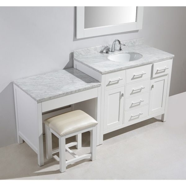 Design Element London 72 Inch Single Sink White Vanity Set With Makeup Table And
