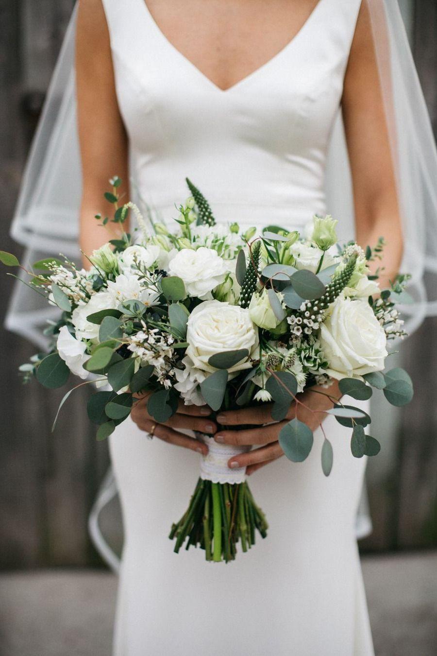 Elegant white and greenery wedding bouquets wedding