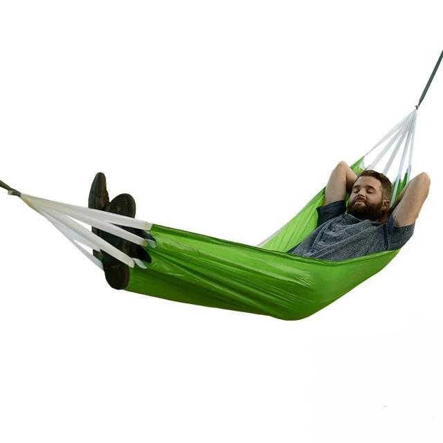 Green Nylon Mesh Hammock Adult Size Outdoor Travel Camping Sleeping Portable