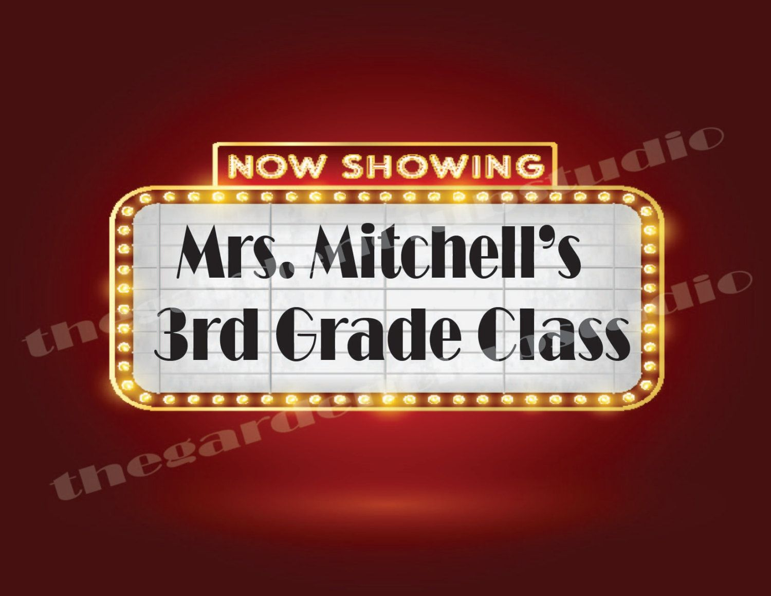 Teacher Cinema Classroom Decoration Custom Printable PDF DIY Do It Yourself Hollywood Theater Movie Movies Now