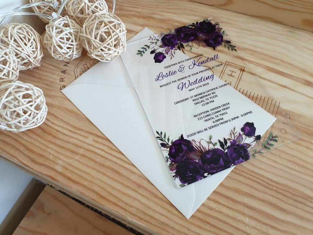 Acrylic Wedding Invitation, clear, transparent or frosted