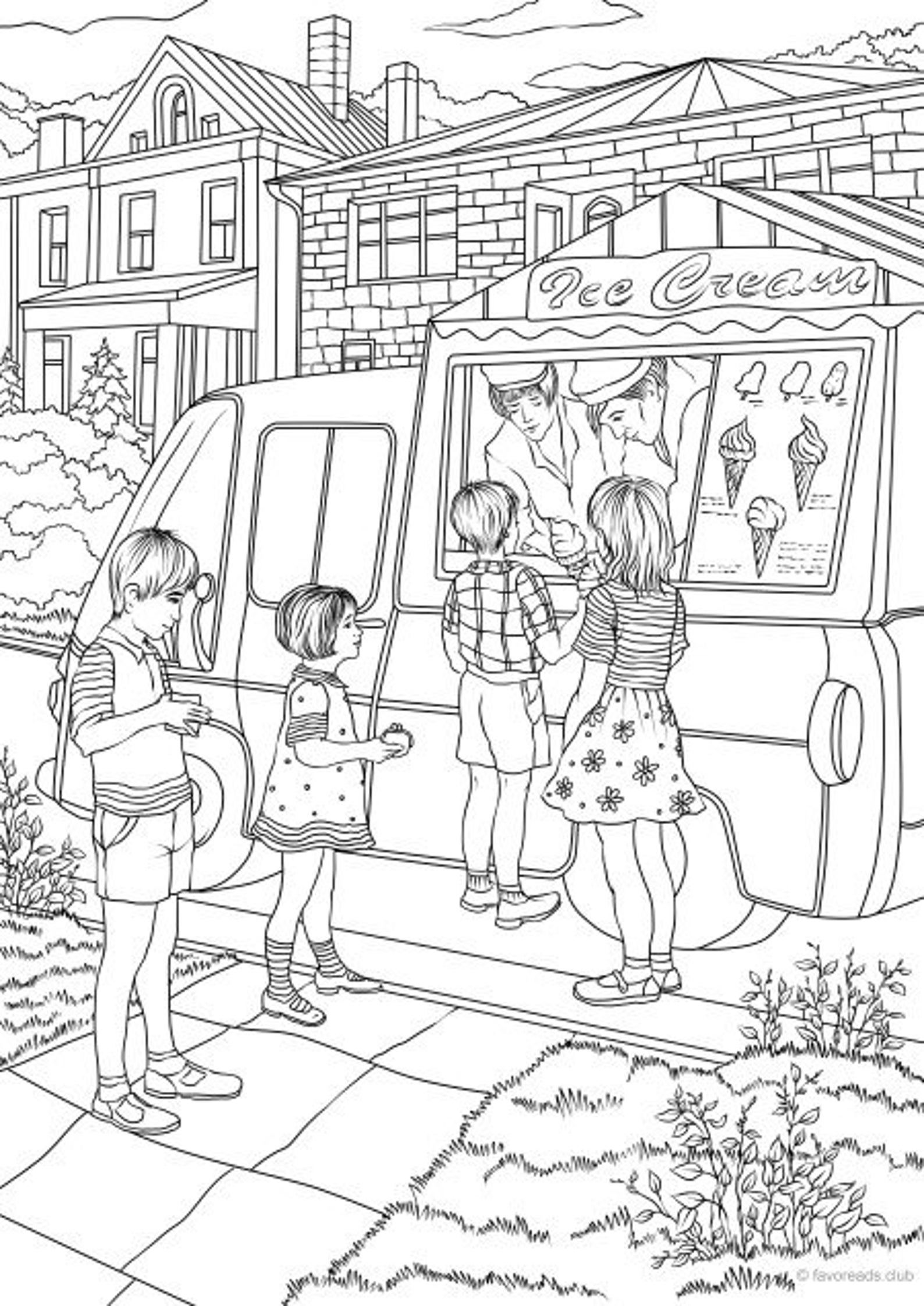 Ice Cream Truck Printable Adult Coloring Page From Favoreads