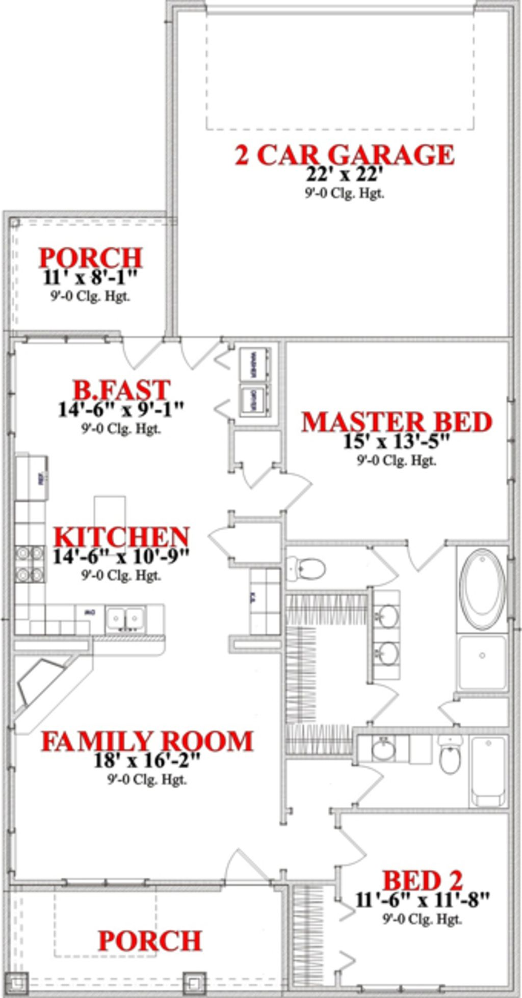 bungalow style house plan 2 beds 2 baths 1367 sq ft plan 63 284