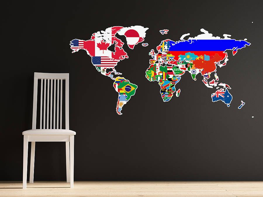 Large flags of the world map wall sticker wall sticker bedrooms large flags of the world map wall sticker very cool for a boys bedroom wall gumiabroncs Choice Image