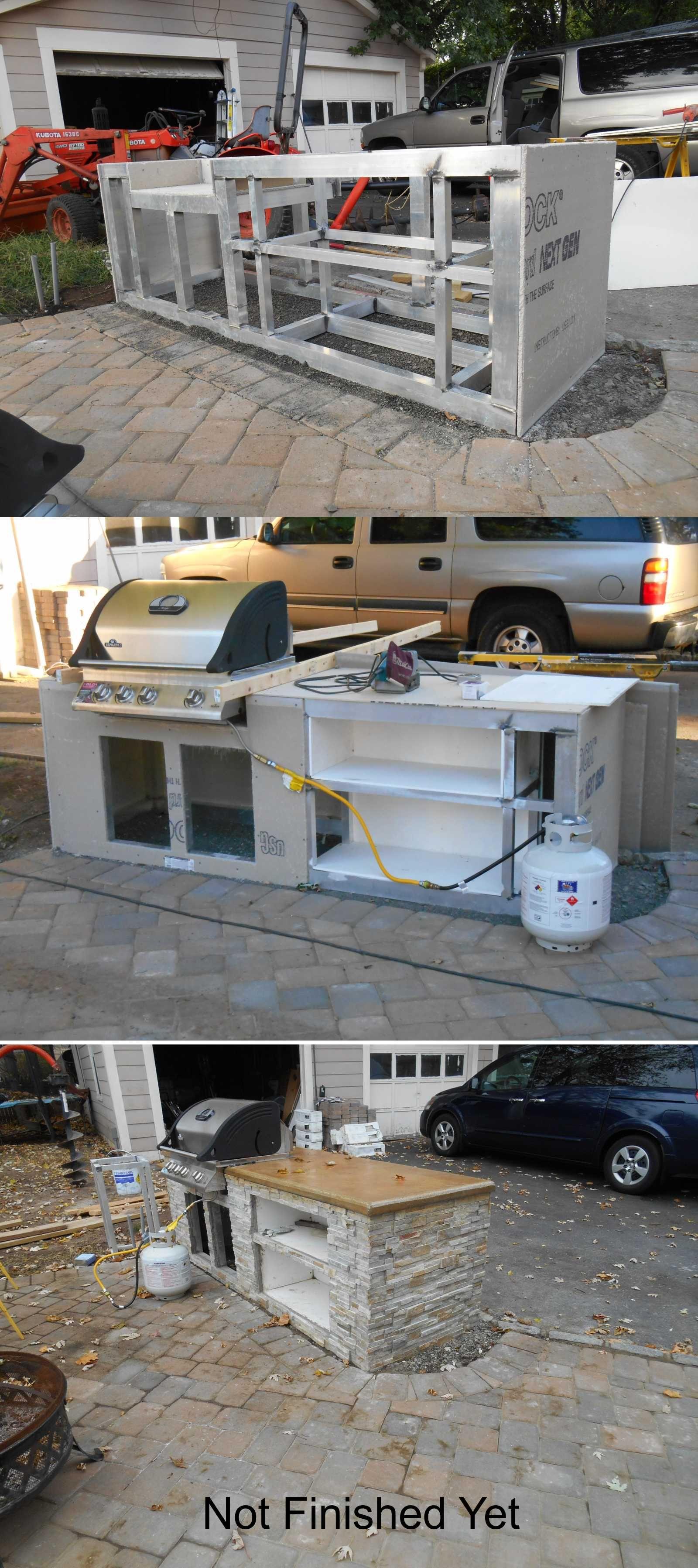 Welded aluminum outdoor kitchen concrete counter top cabañas