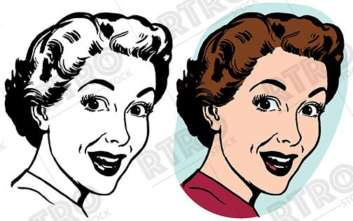A Woman With A Surprised Expression On Her Face Vintage Retro Clipart Clip Art Drawing Cartoon Illustra Cartoon Illustration Stock Images Free Cartoon Drawings