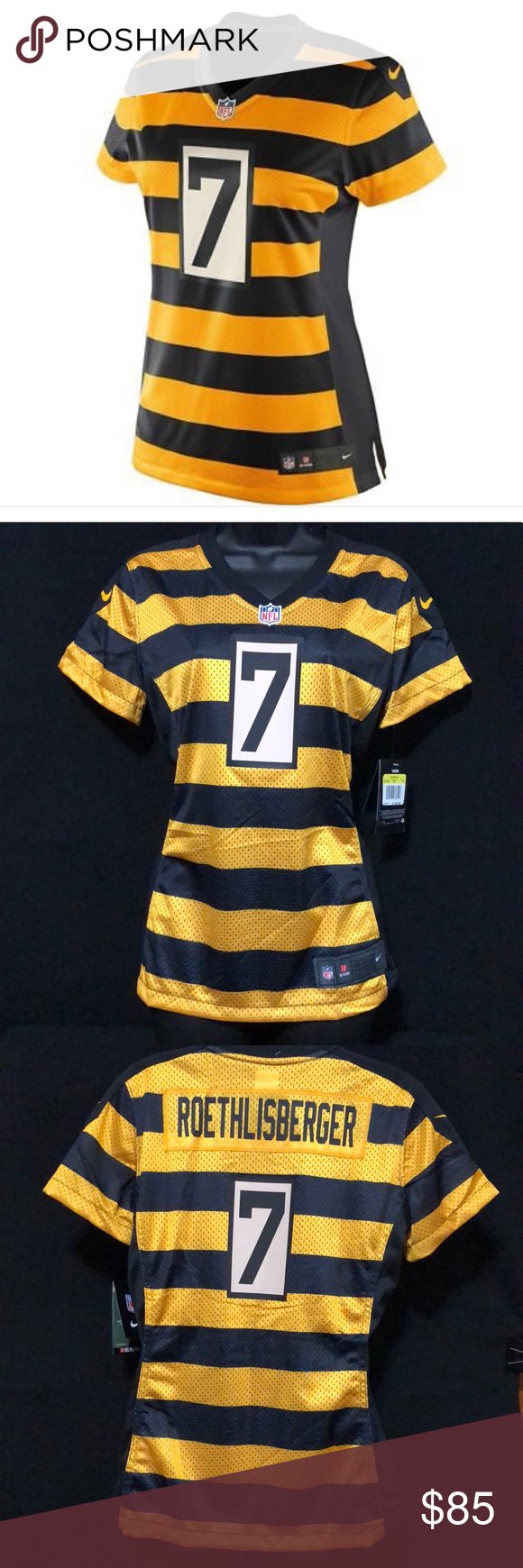 fcbab3e748a ... inexpensive nike pittsburgh steelers bumblebee jersey nwt ben  roethlisberger 7 v neck. 100 polyester nfl