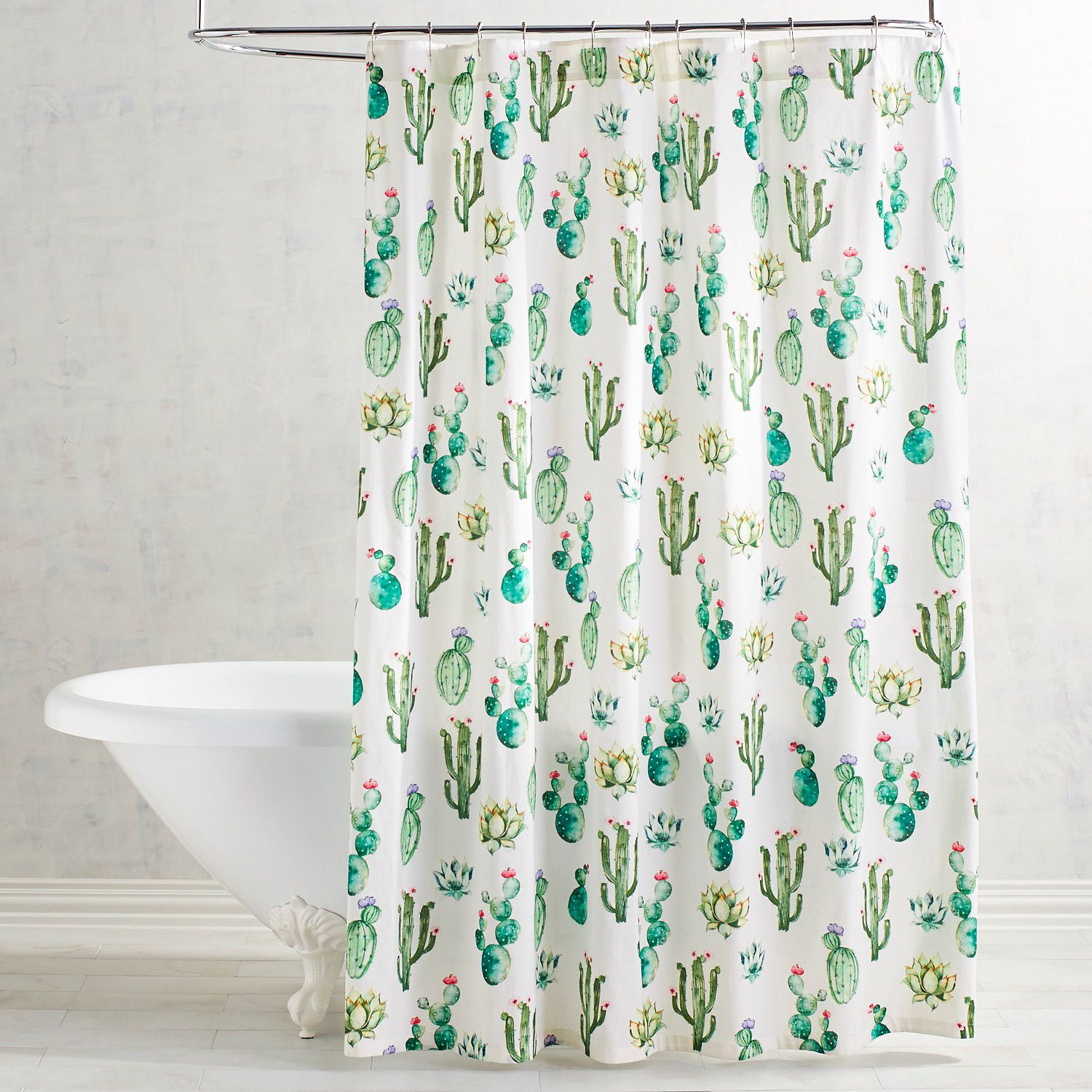 Watercolor Cactus Shower Curtain Cactus Shower Curtain Diy