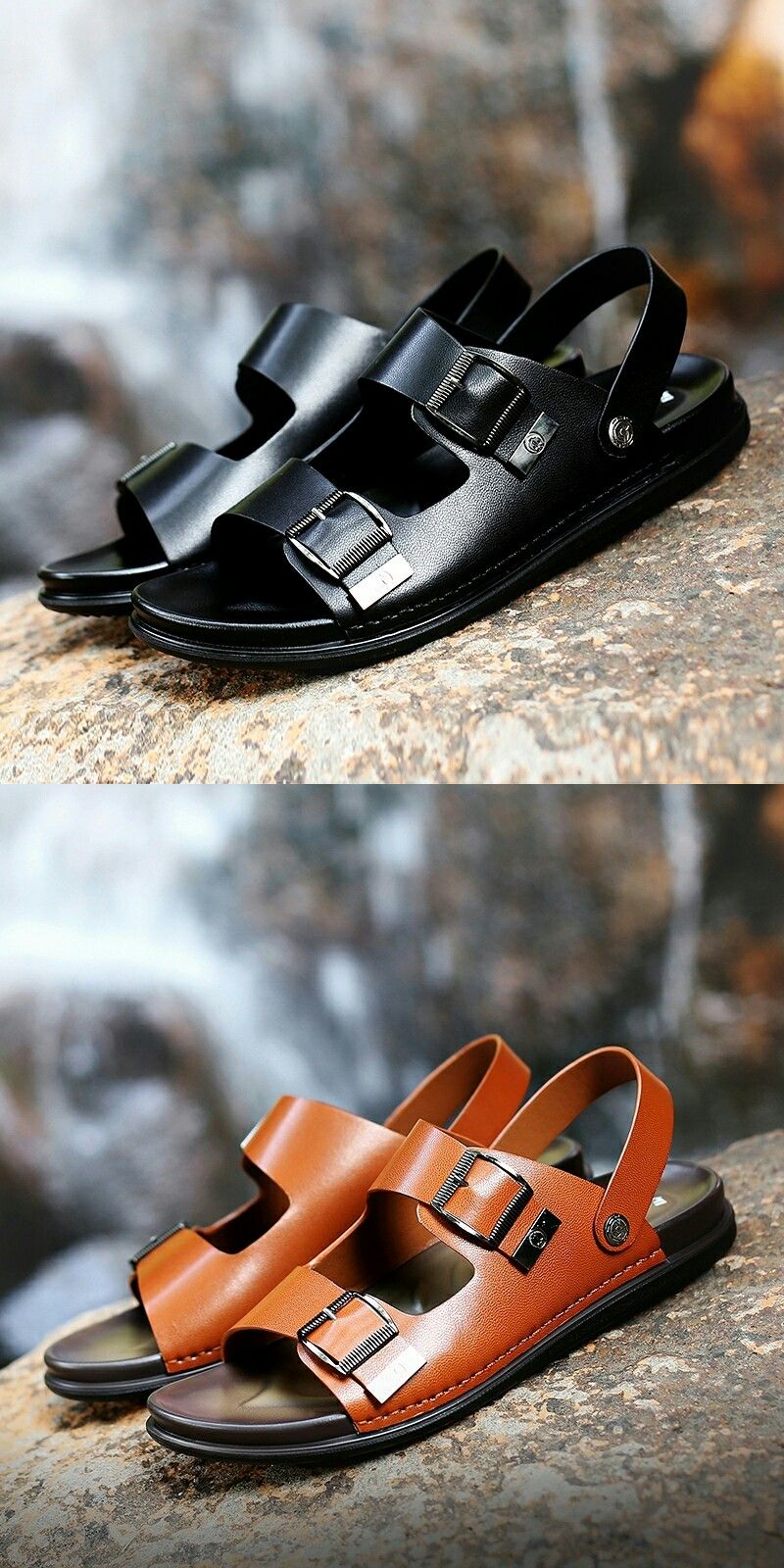 US $26 4  Prelesty Summer Men's Leather Business Sandals Breathable Buckle Design is part of information-technology - information-technology