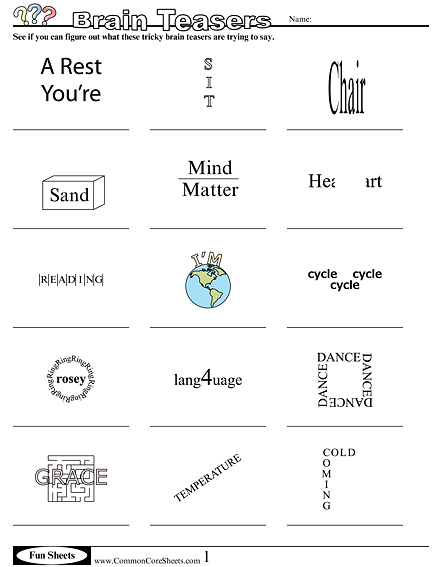 Fun Worksheets | Brain teasers for kids, Fun worksheets ...