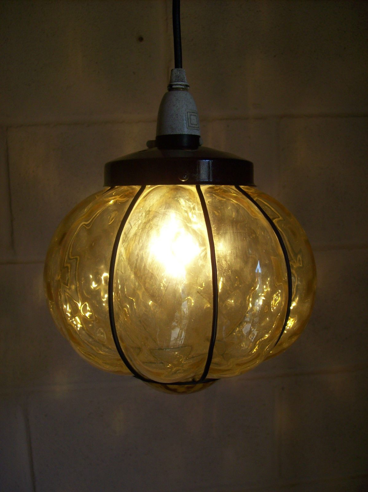 Vintage Metal And Amber Blown Glass Outside Porch Lamp Light
