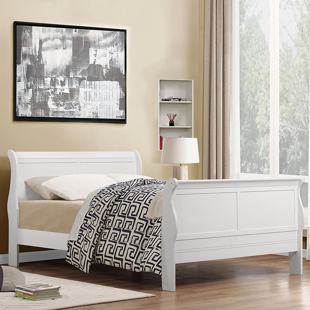 Oxford Creek French styled White Full Size Sleigh Bed