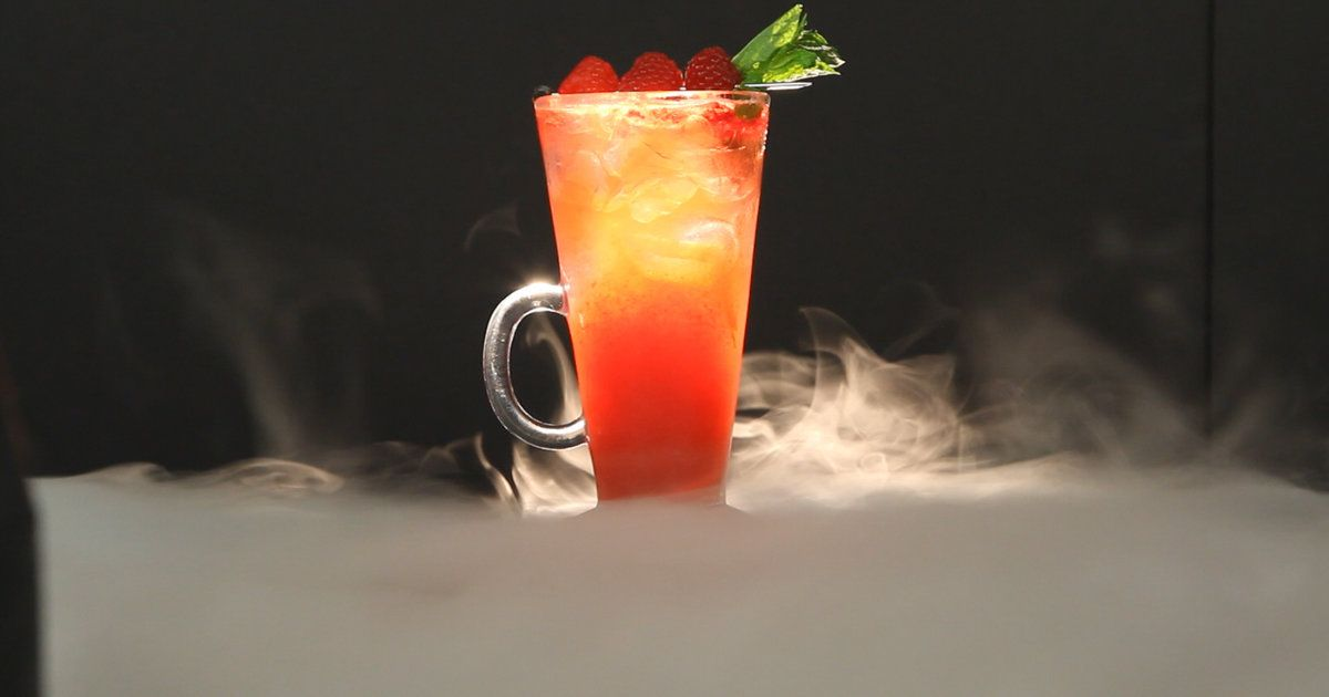 Dawn of the Dead Cocktail surrounded by fog.
