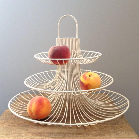 Vintage Mid Century Metal White Fruit Basket Table By Vintagerim