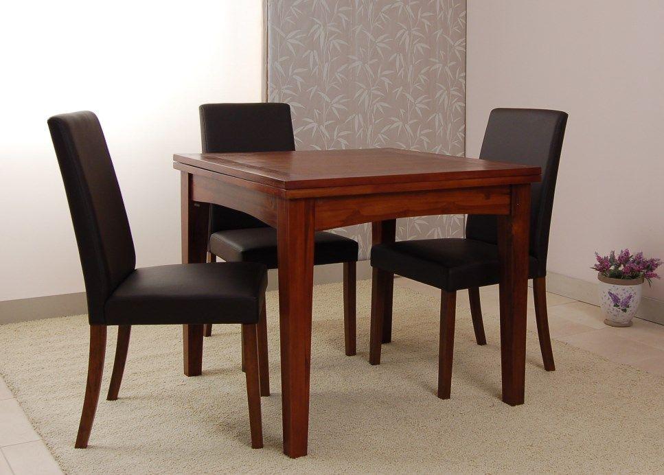 Mesa de comedor cuadrada y extensible BASIC 4, de madera de teca y ...