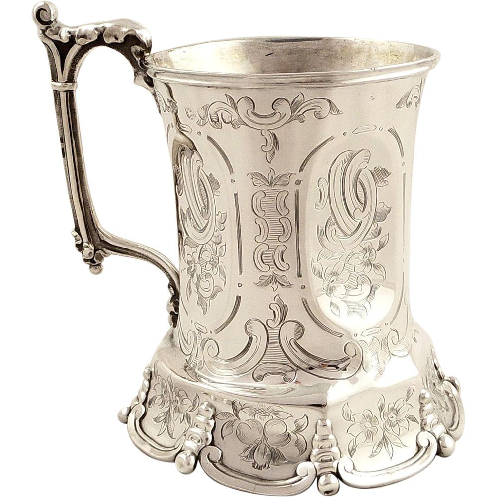 UNUSUAL ANTIQUE VICTORIAN STERLING SILVER MUG/TANKARD - 1853 in Antiques, Silver, Solid Silver | eBay