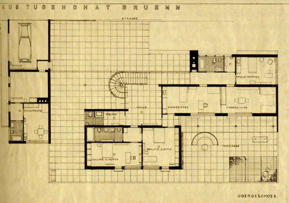 ground floor plan villa tugendhat ludwig mies van der rohe brno czech republic 1928. Black Bedroom Furniture Sets. Home Design Ideas