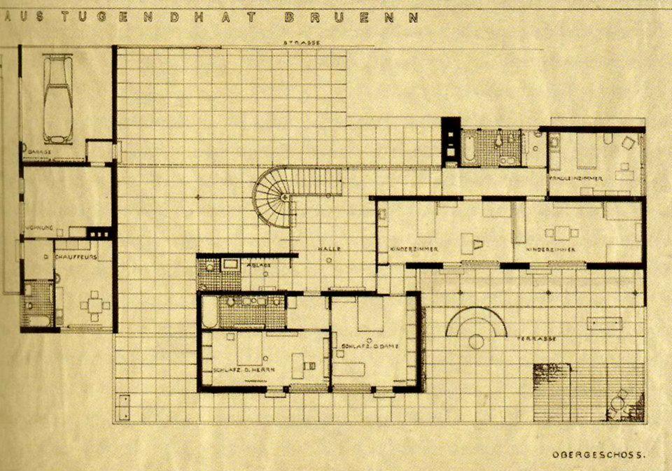 Mies Der Rohe Villa Tugendhat ground floor plan villa tugendhat ludwig mies der rohe