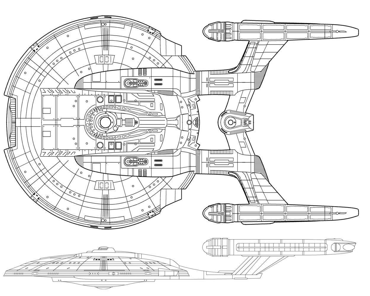 Black and white schematic of Columbia-class starship; U.S