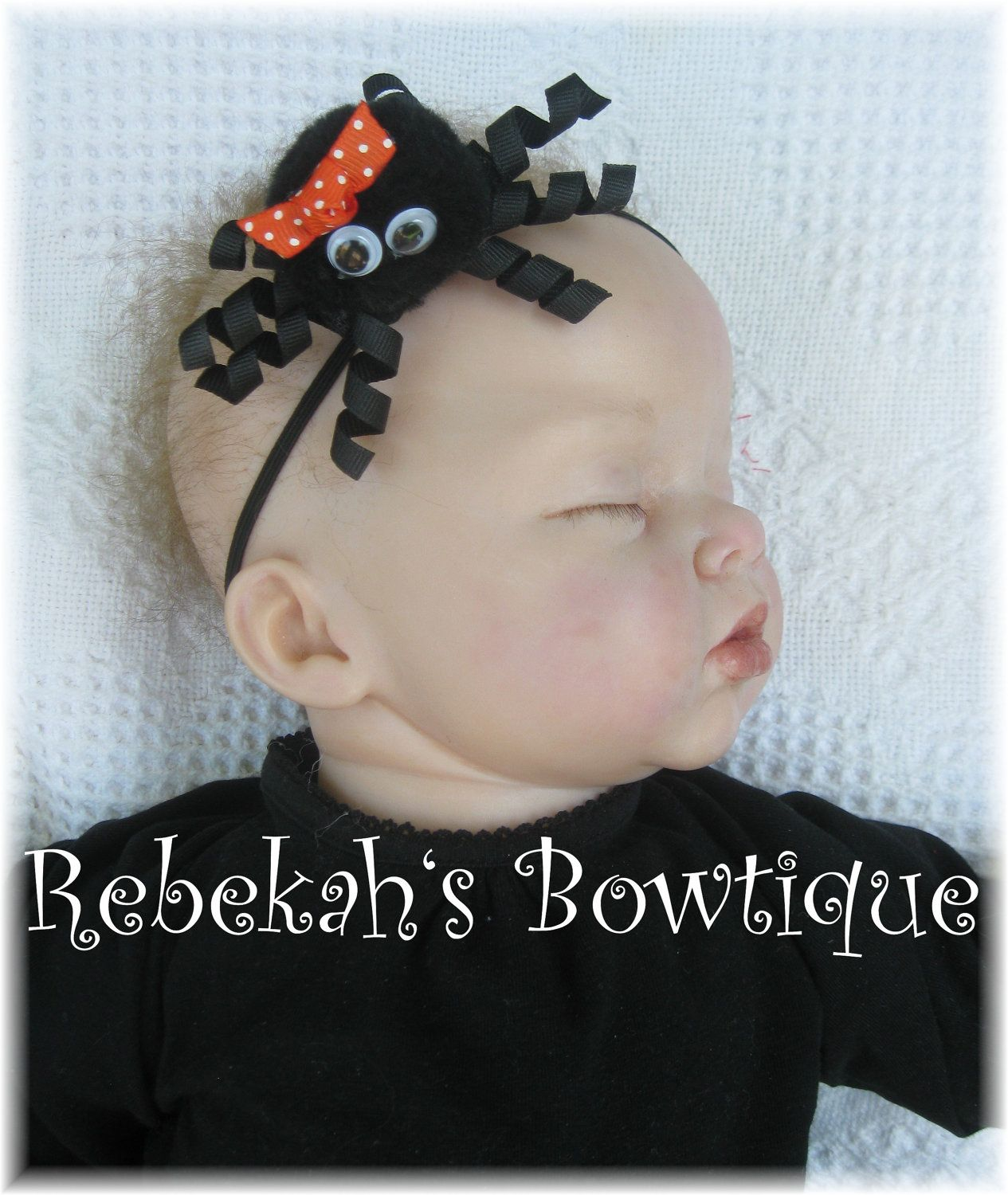 8177c37852c8 Halloween Black Itsy Bitsy Spider Small Hair Bow Hairbow Headband OR Clip  Infant Toddler Girls Baby Babies Orange Dots.  9.95