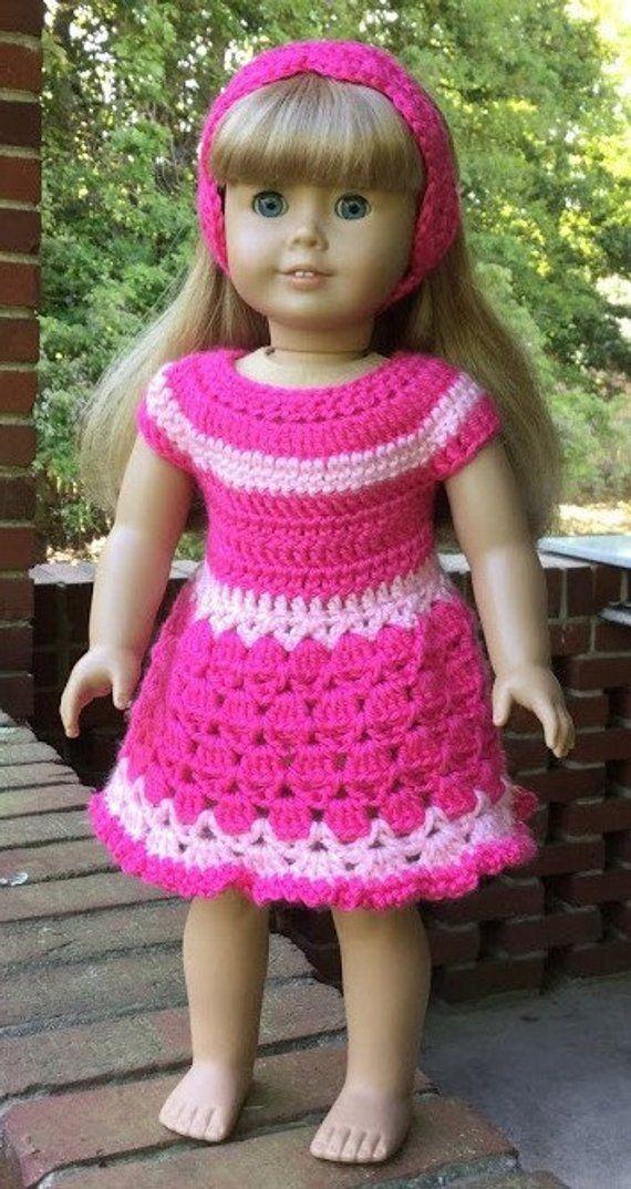 Crochet American Girl Doll Dress And Headband Set