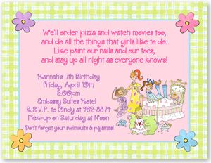 Slumber Party Invitation Wording Ideas