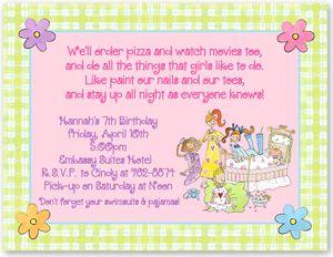 cute invitation slumber party