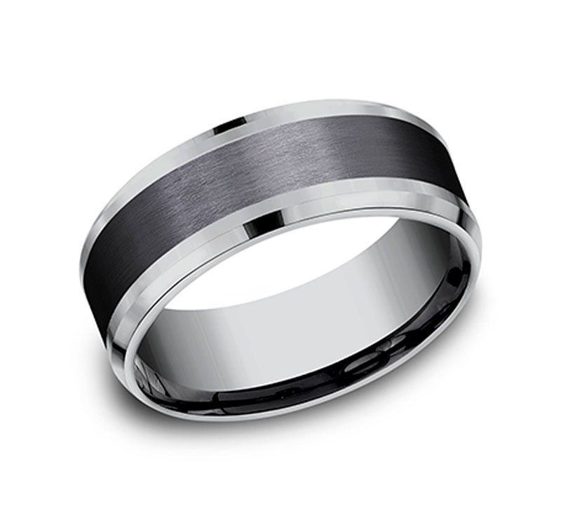 1fa4001b2d8c5 Men's 8mm Tantalum Ring with Black Titanium Inlay   Wedding Rings ...