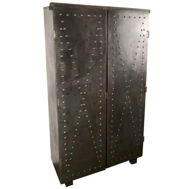 Steel Cabinet with Textured Doors | From a unique collection of antique and modern cabinets at http://www.1stdibs.com/furniture/storage-case-pieces/cabinets/