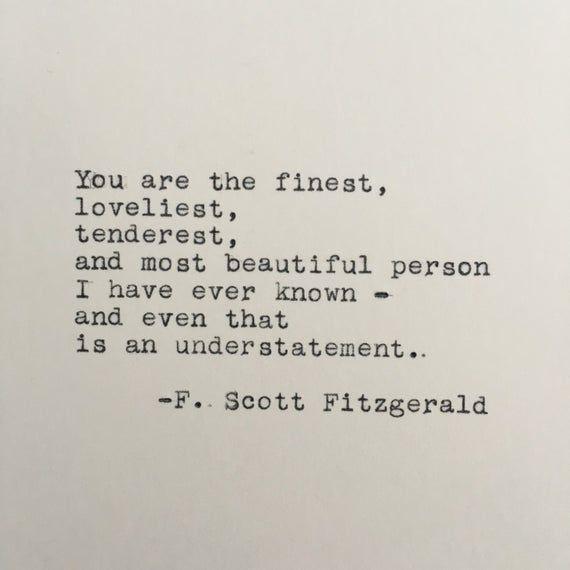 F. Scott Fitzgerald Love Quote Typed on Typewriter - 4x6 White Cardstock