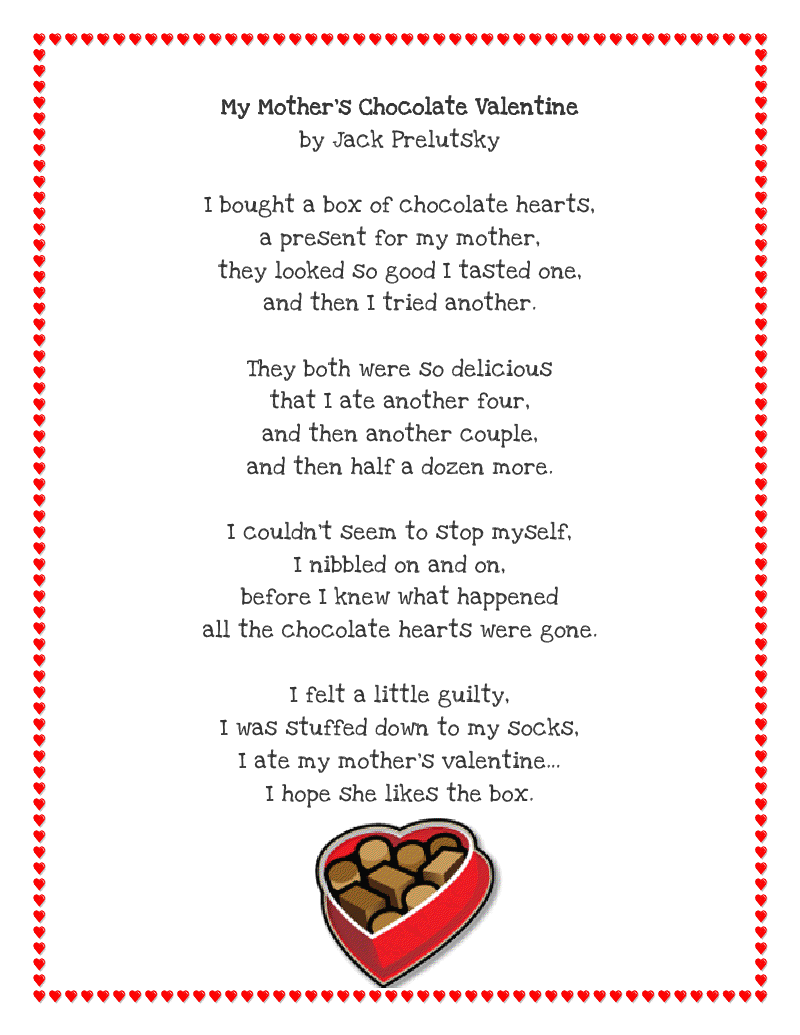 Literacy Minute Valentine Poem Printable Free Funny Poem Gifts
