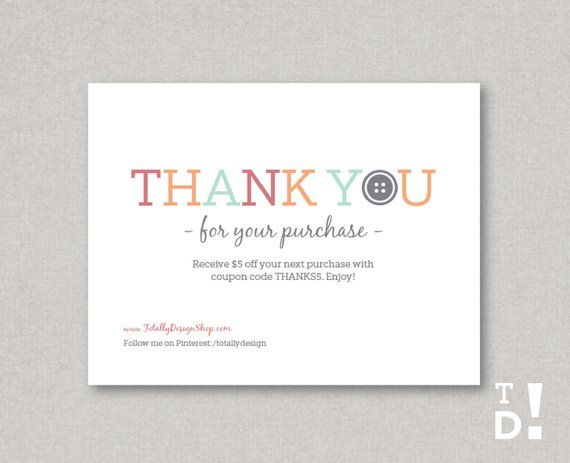 photo about Free Printable Thank You for Your Purchase titled Thank oneself for your acquire notecard Printable Immediate