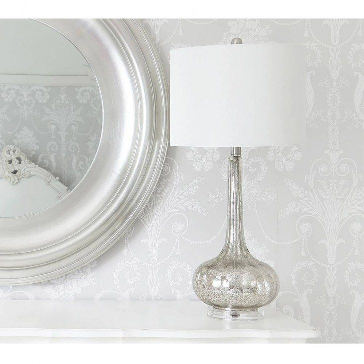 Serenity Tall Silver Glass Table Lamp