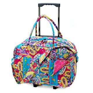 Quilted Rolling Weekender Bag Bright Paisley